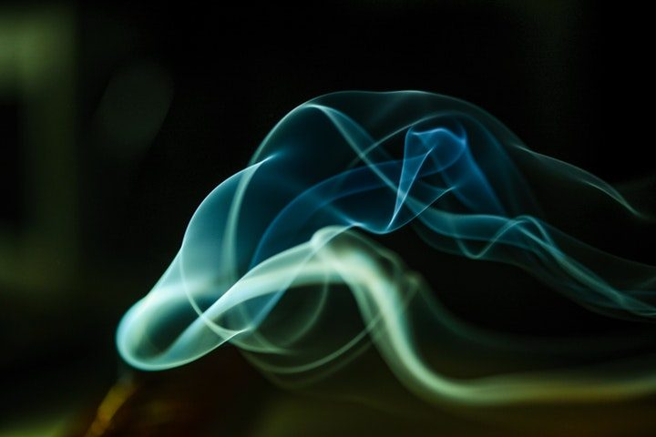 Blue e-cigarette smoke