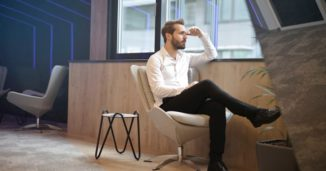 A man siting in a office